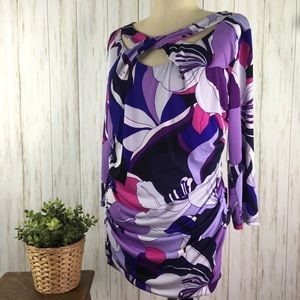 JLO Purple Print Knot Front Top NWT VENETIAN